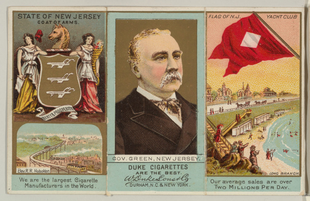 """Governor Green, New Jersey, from """"Governors, Arms, Etc."""" series (N133-2), issued by Duke Sons & Co."""