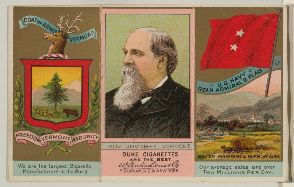 """Governor Ormsbee, Vermont, from """"Governors, Arms, Etc."""" series (N133-2), issued by Duke Sons & Co."""