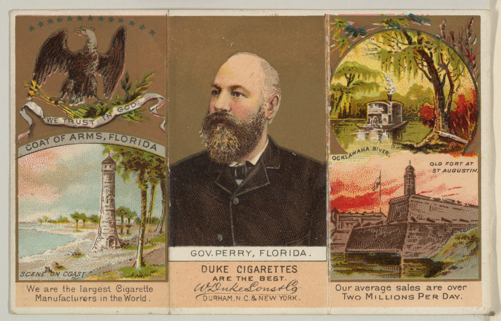 """Governor Perry, Florida, from """"Governors, Arms, Etc."""" series (N133-2), issued by Duke Sons & Co."""