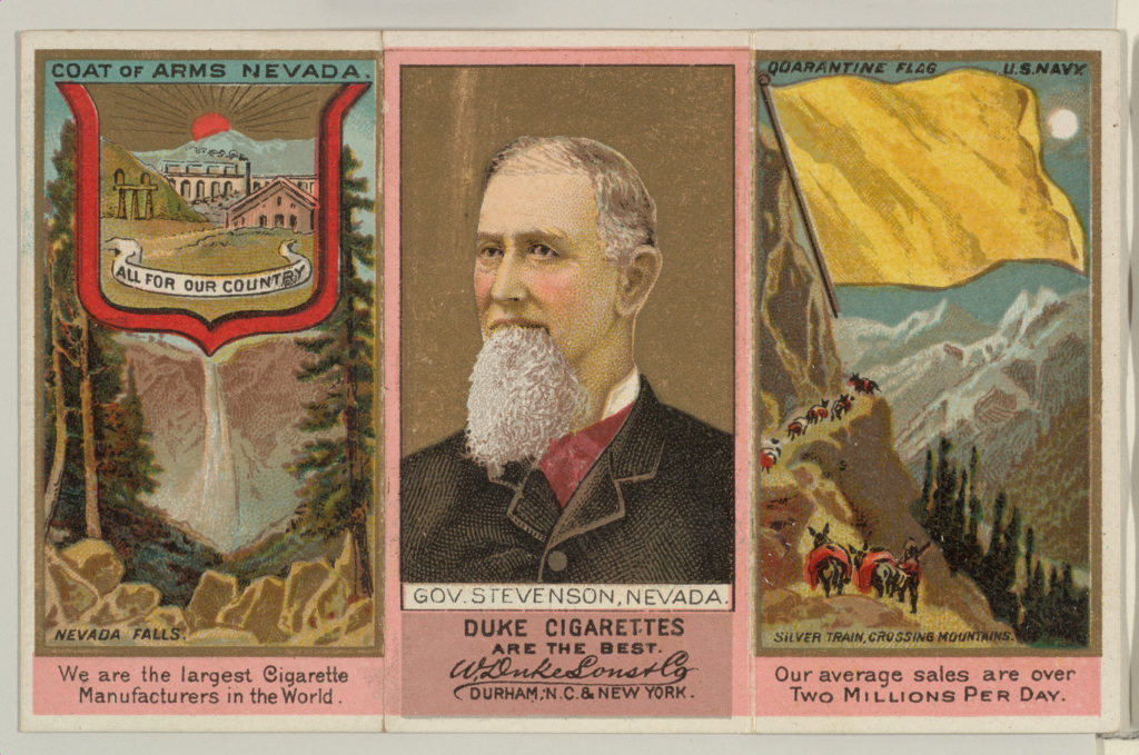 """Governor Stevenson, Nevada, from """"Governors, Arms, Etc."""" series (N133-2), issued by Duke Sons & Co."""
