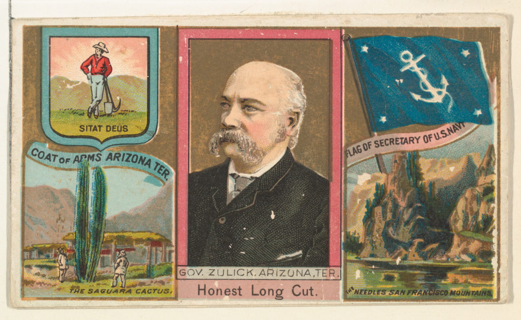 "Governor Zulick, Arizona Territory, from ""Governors, Arms, Etc."" series (N133-1), issued by Duke Sons & Co."