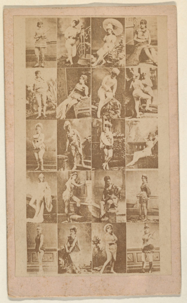 Grid of twenty portraits of actresses (pink), from the Actresses series (N668)