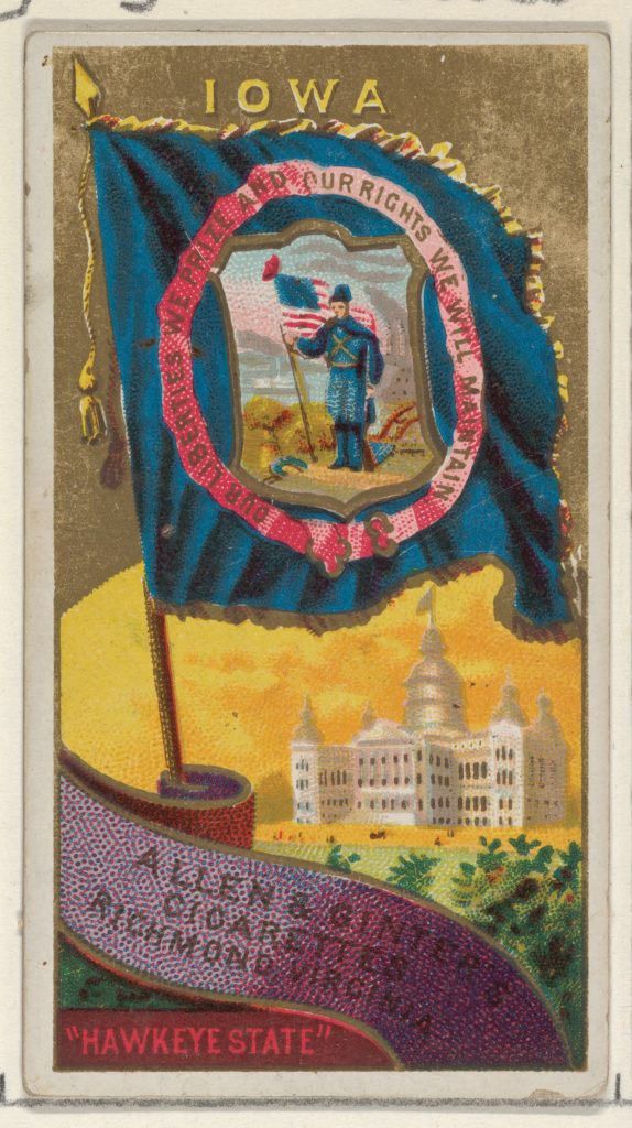 Iowa, from Flags of the States and Territories (N11) for Allen & Ginter Cigarettes Brands
