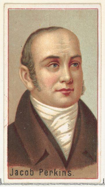 Jacob Perkins, printer's sample for the World's Inventors souvenir album (A25) for Allen & Ginter Cigarettes