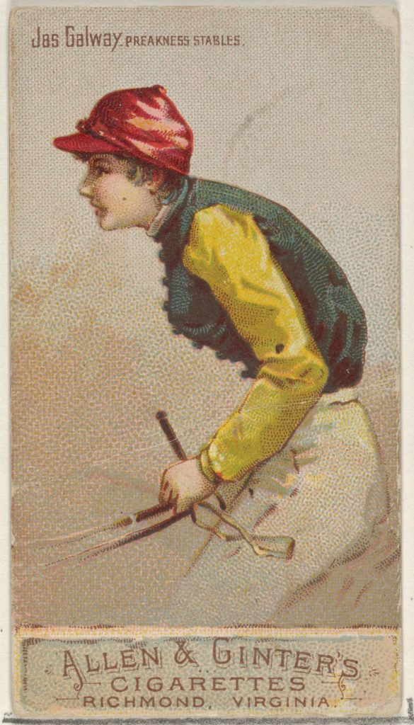 Jas. Galway, Preakness Stables, from the Racing Colors of the World series (N22b) for Allen & Ginter Cigarettes