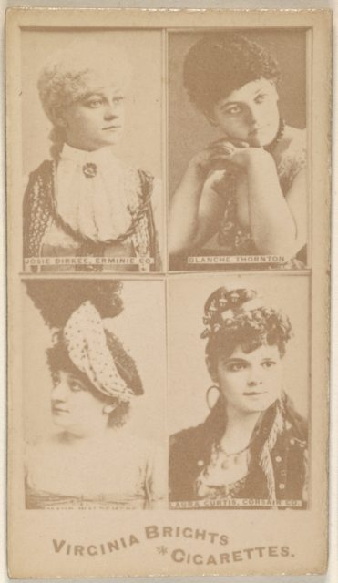 Josie Dirkee, Erminie Co./ Blanche Thornton/ Laura Curtis, Corsair Co., from the Actors and Actresses series (N45, Type 4) for Virginia Brights Cigarettes