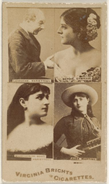 Lasouche, Variettees/ Depoix, Gymnase/ Marguerite Hood, Variettees/ Alex Martins, from the Actors and Actresses series (N45, Type 4) for Virginia Brights Cigarettes