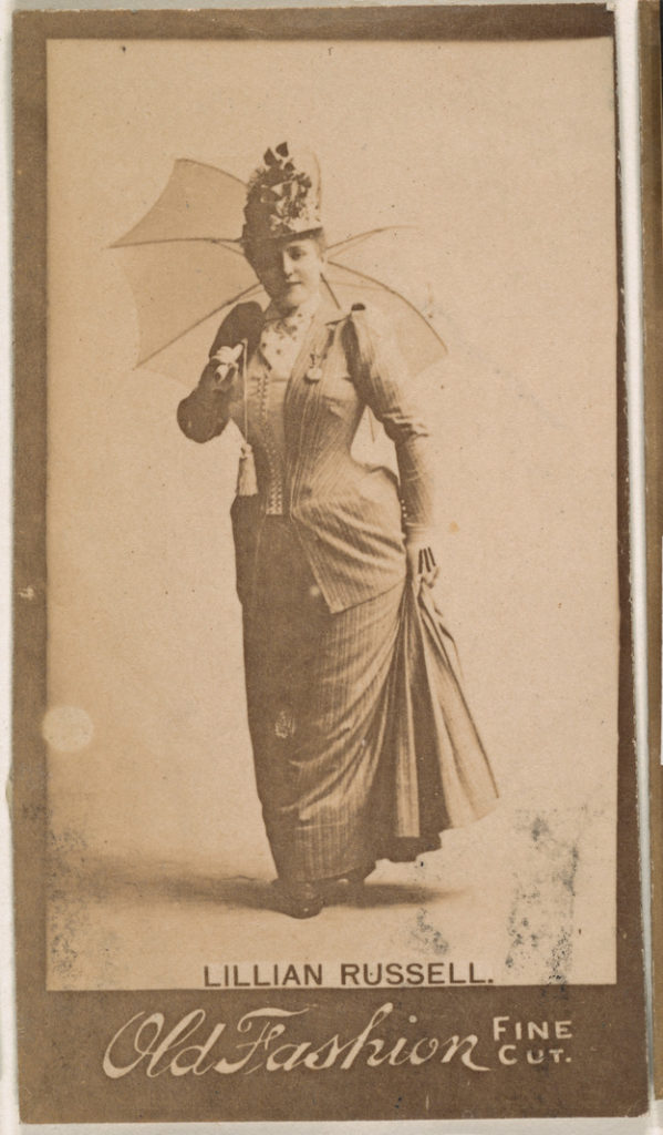 Lillian Russell, from the Actresses series (N664) promoting Old Fashion Fine Cut Tobacco