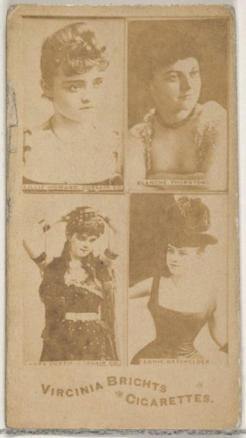 Lillie Howard, Corsair Co./ Blanche Thornton/ Laura Curtis, Corsair Co./ Fannie Batchelder, from the Actors and Actresses series (N45, Type 4) for Virginia Brights Cigarettes