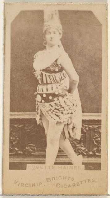 Lucette Haines, from the Actors and Actresses series (N45, Type 1) for Virginia Brights Cigarettes