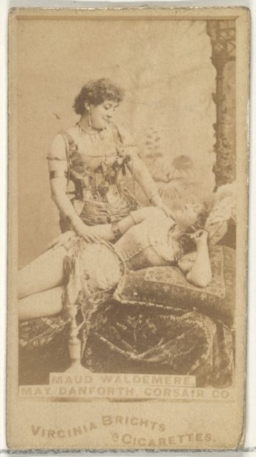 Maud Waldemere and May Danforth, Corsair Co., from the Actors and Actresses series (N45, Type 1) for Virginia Brights Cigarettes