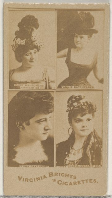 Maud Waldemere, Corsair Co./ Fannie Batchelder/ Clara Davenport/ Laura Curtis, Corsair Co., from the Actors and Actresses series (N45, Type 4) for Virginia Brights Cigarettes