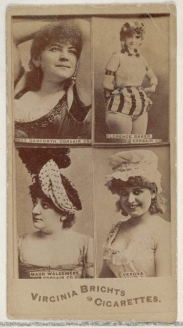 May Danforth, Corsair Co./ Florence Baker, Corsair Co./ Maud Waldemere, Corsair Co./ Verona, from the Actors and Actresses series (N45, Type 4) for Virginia Brights Cigarettes