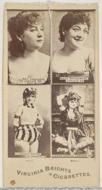 May Danforth, Corsair Co./ Maud Waldemere, Corsair Co./ Florence Baker, Corsair Co./ Laura Curtis, Corsair Co., from the Actors and Actresses series (N45, Type 4) for Virginia Brights Cigarettes