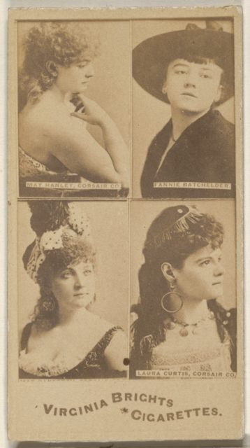 May Hanley, Corsair Co./ Fannie Batchelder/ Laura Curtis, Corsair Co., from the Actors and Actresses series (N45, Type 4) for Virginia Brights Cigarettes