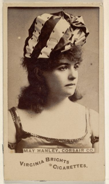 May Hanley, Corsair Co., from the Actors and Actresses series (N45, Type 6) for Virginia Brights Cigarettes