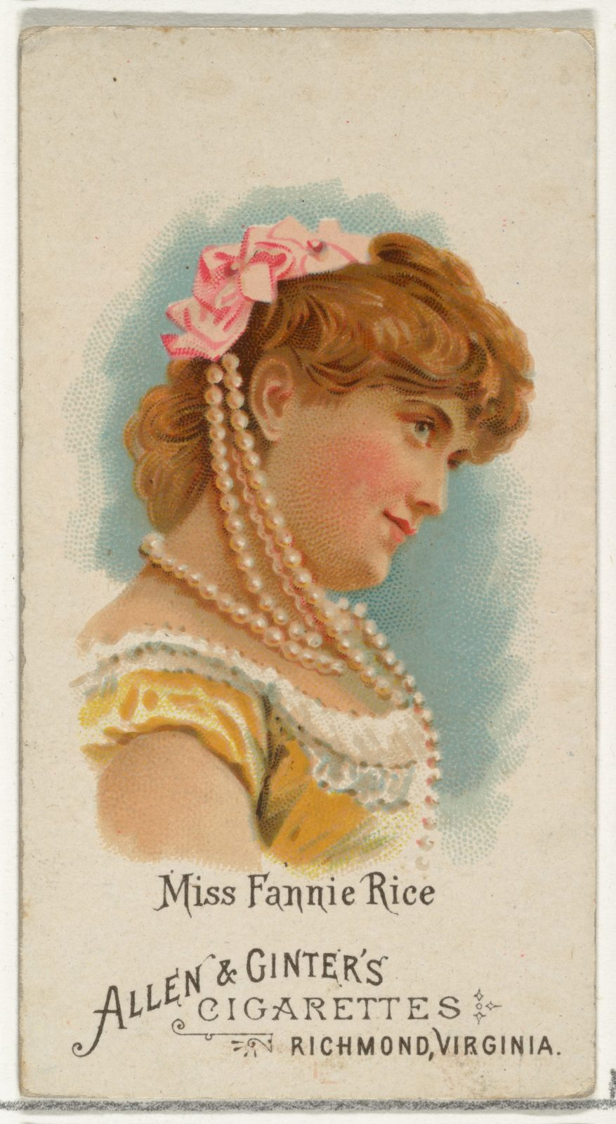 Miss Fannie Rice, from World's Beauties, Series 1 (N26) for Allen & Ginter Cigarettes