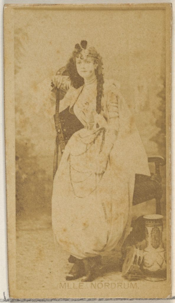 Mlle. Nordrum, from the Actors and Actresses series (N45, Type 8) for Virginia Brights Cigarettes