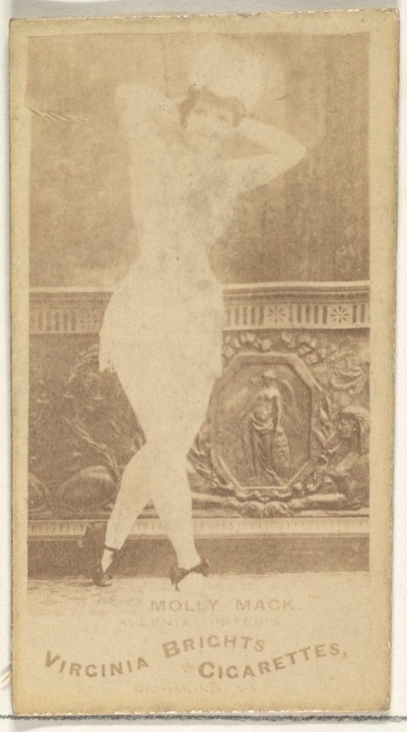 Molly Mack, from the Actors and Actresses series (N45, Type 1) for Virginia Brights Cigarettes
