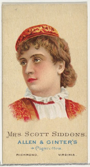 Mrs. Scott Siddons, from World's Beauties, Series 2 (N27) for Allen & Ginter Cigarettes