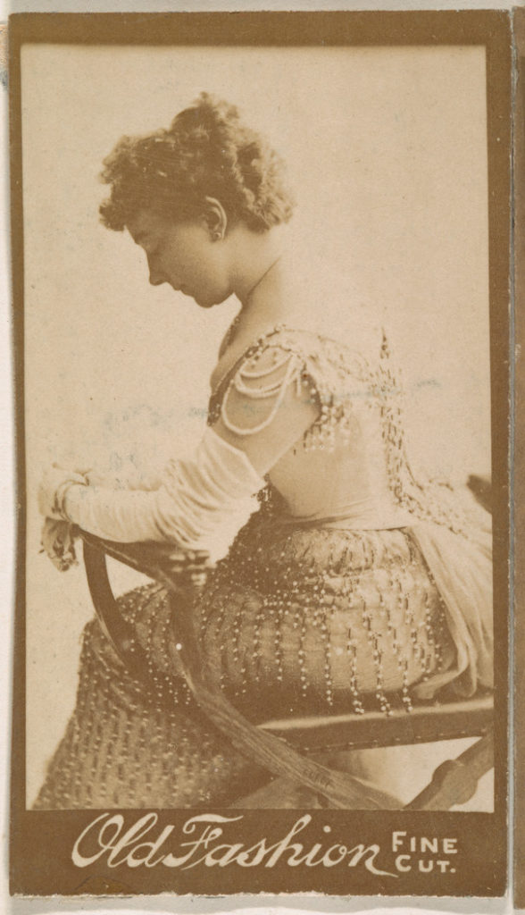 Portrait of actress in profile, from the Actresses series (N664) promoting Old Fashion Fine Cut Tobacco