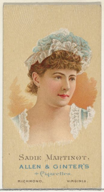 Sadie Martinot, from World's Beauties, Series 2 (N27) for Allen & Ginter Cigarettes