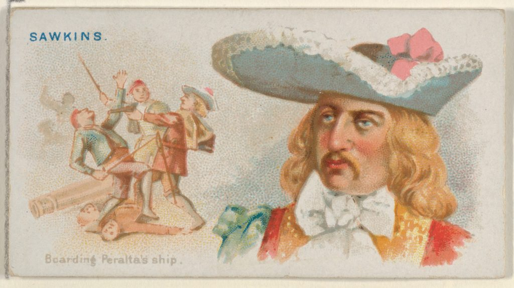 Sawkins, Boarding Peralta's Ship, from the Pirates of the Spanish Main series (N19) for Allen & Ginter Cigarettes