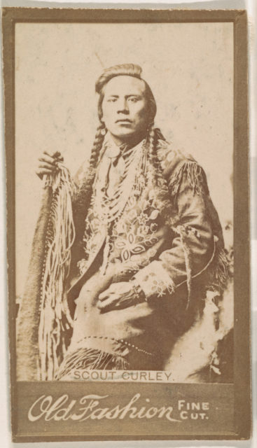 Scout Curley, from the Indian Chiefs series (N681) promoting Old Fashion Fine Cut Tobacco