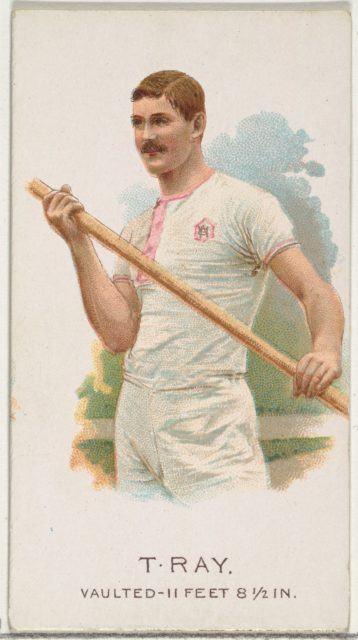 T. Ray, Pole Vaulter, from World's Champions, Series 2 (N29) for Allen & Ginter Cigarettes