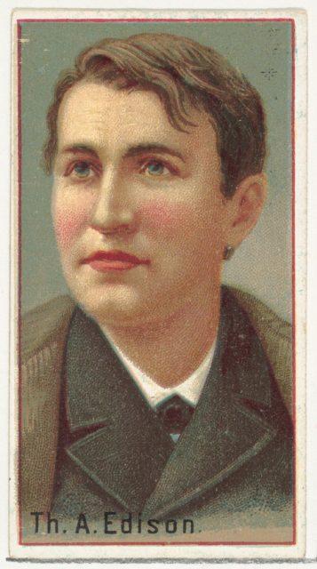 Thomas A. Edison, printer's sample for the World's Inventors souvenir album (A25) for Allen & Ginter Cigarettes