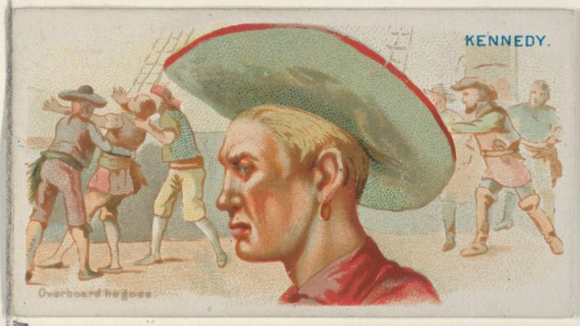Walter Kennedy, Overboard He Goes, from the Pirates of the Spanish Main series (N19) for Allen & Ginter Cigarettes