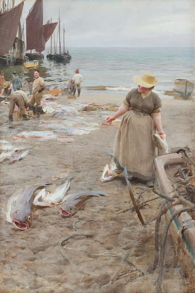 Anders Zorn - Fiskmarknad i St. Ives