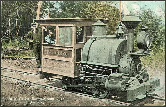 Huntsville portage railway engine -- postcard