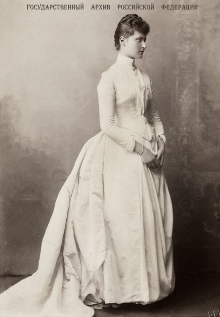 Princess Alix of Hesse and by Rhine. 1888. White dress.
