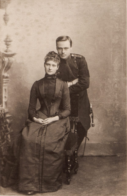 Princess Alix of Hesse with  her brother Ernst Ludwig.1888.