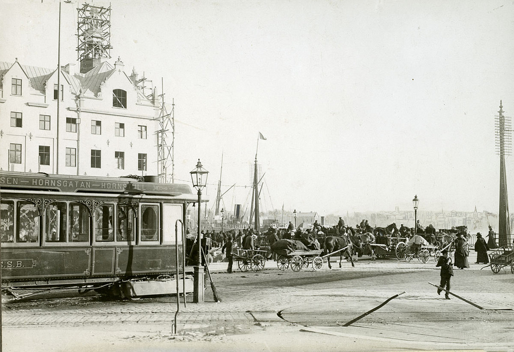 Steam tram in Stockholm in 1888
