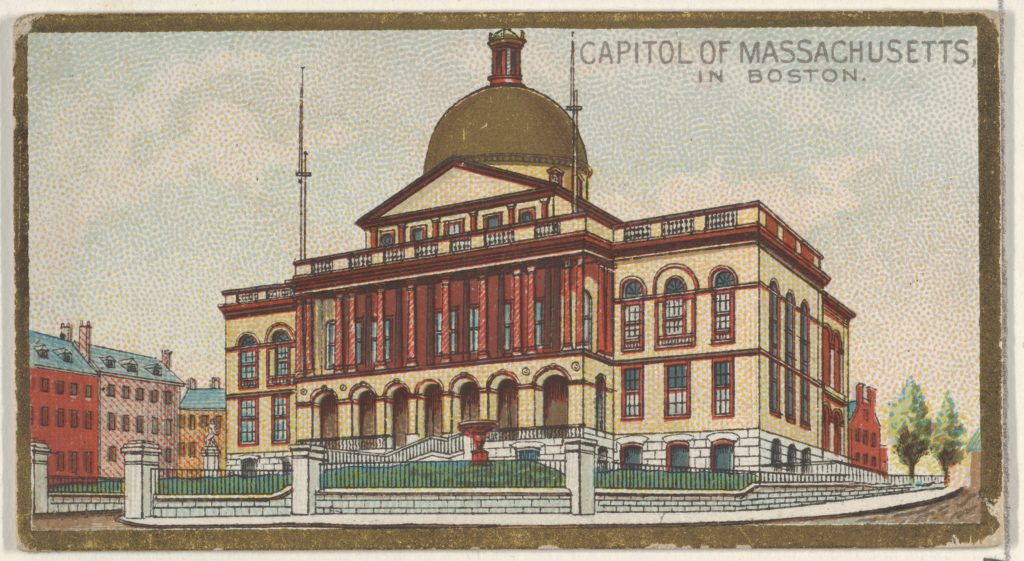 Capitol of Massachusetts in Boston, from the General Government and State Capitol Buildings series (N14) for Allen & Ginter Cigarettes Brands