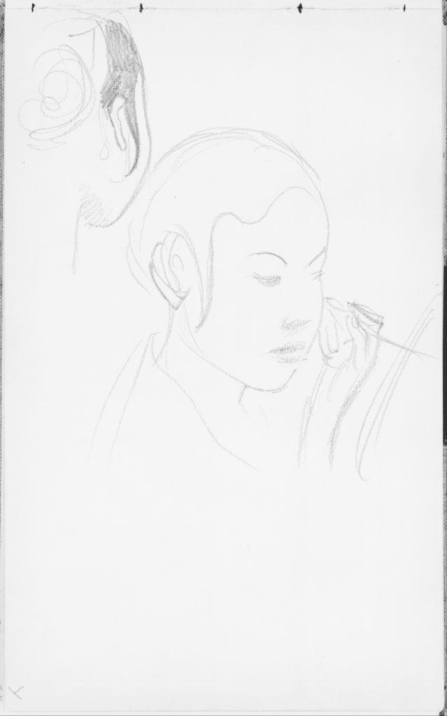 Javanese Dancer Applying Make-up (from Sketchbook of Javanese Dancers)