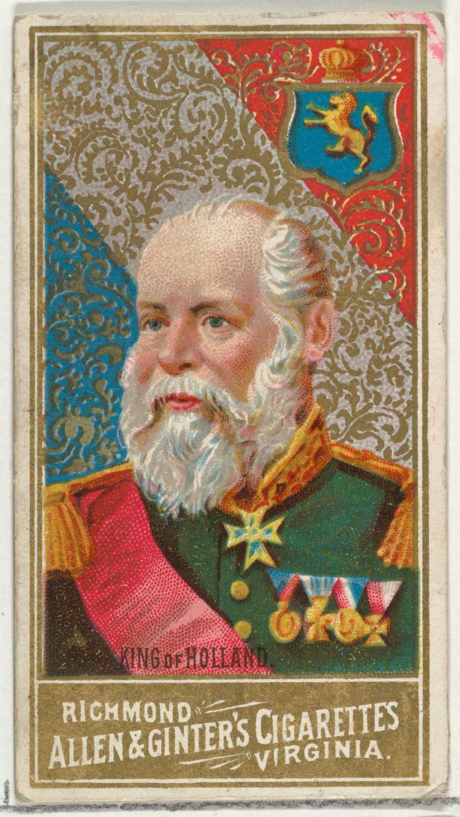 King of Holland, from World's Sovereigns series (N34) for Allen & Ginter Cigarettes