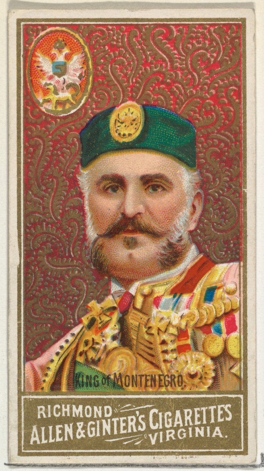 King of Montenegro, from World's Sovereigns series (N34) for Allen & Ginter Cigarettes