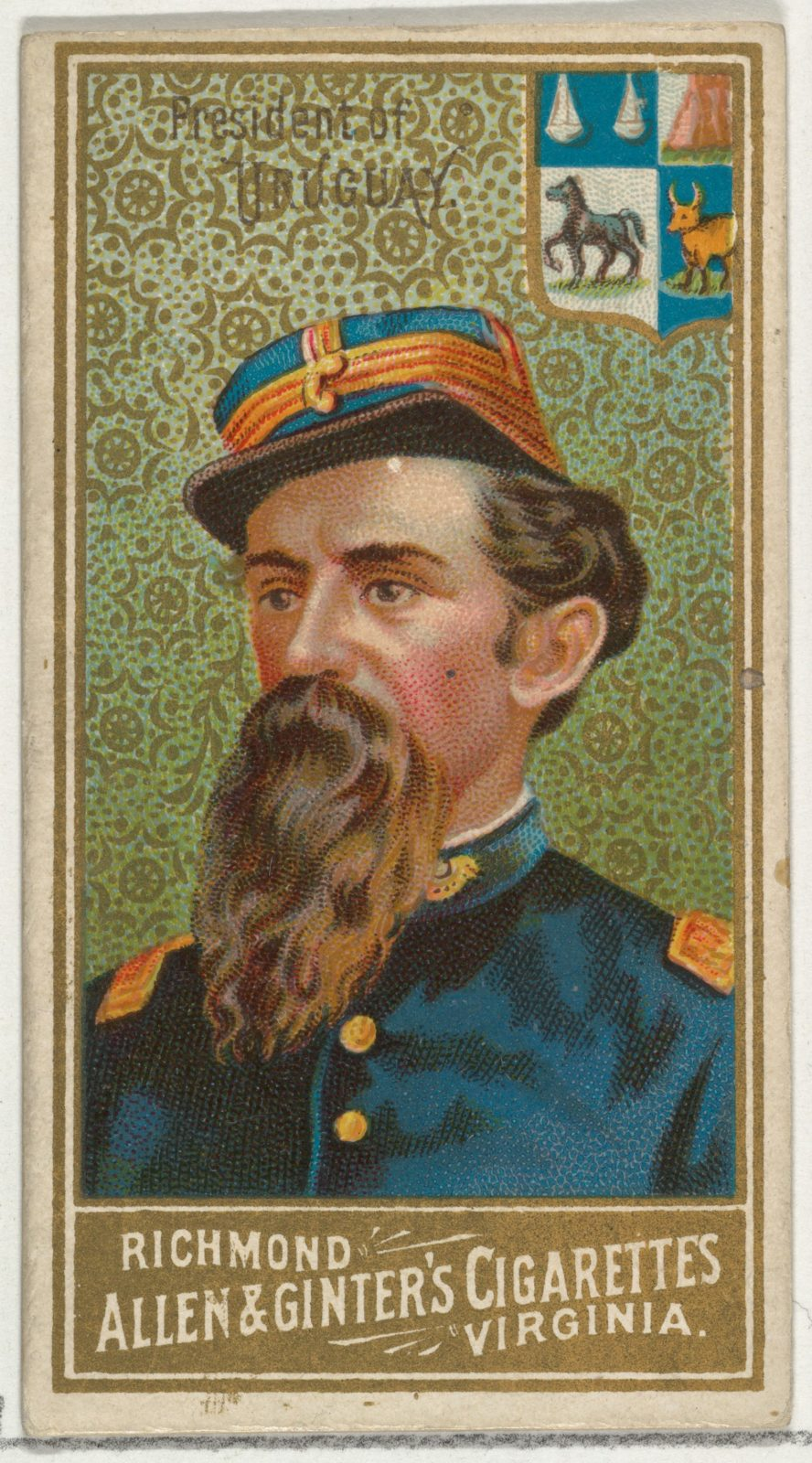 President of Uruguay, from World's Sovereigns series (N34) for Allen & Ginter Cigarettes