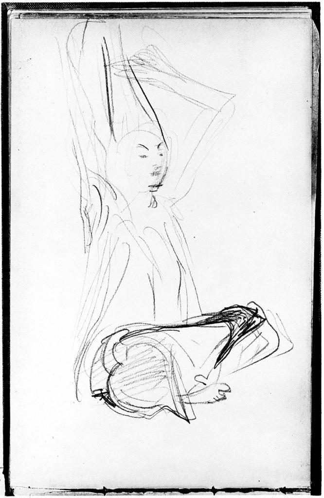 Seated Javanese Dancer Fixing Her Hair (from Sketchbook of Javanese Dancers)