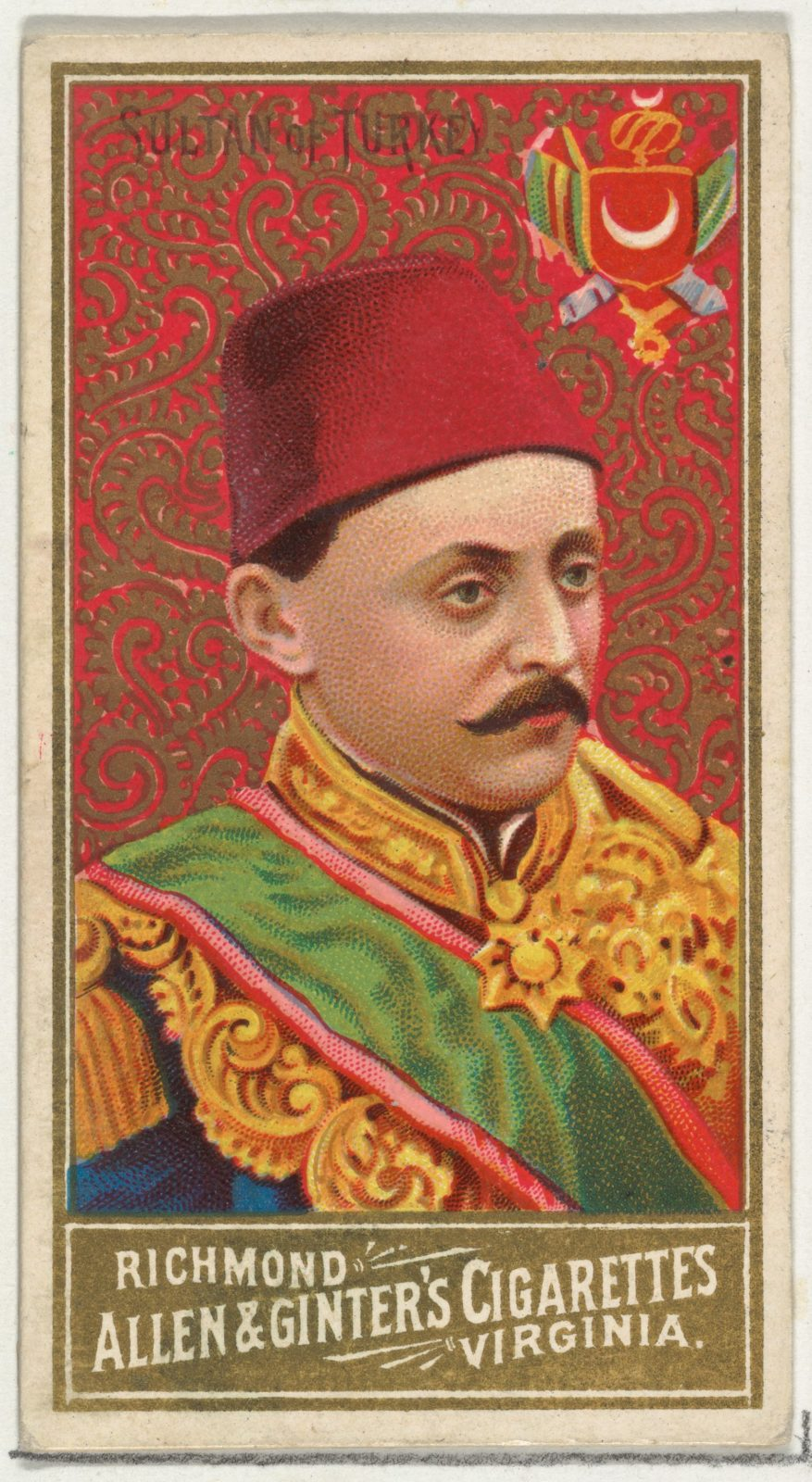Sultan of Turkey, from World's Sovereigns series (N34) for Allen & Ginter Cigarettes