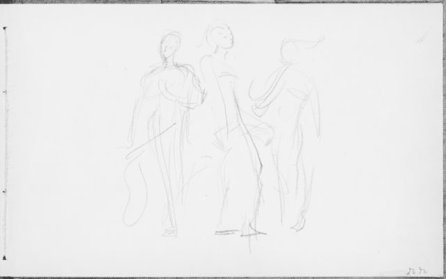 Three Standing Dancers (from Sketchbook of Javanese Dancers)