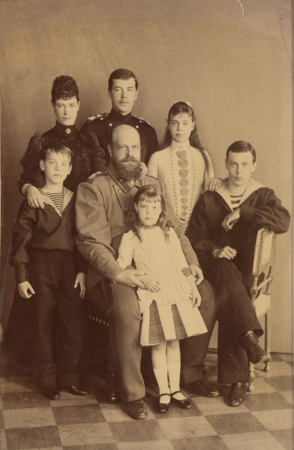 Emperor of Russia Alexander III with his family.