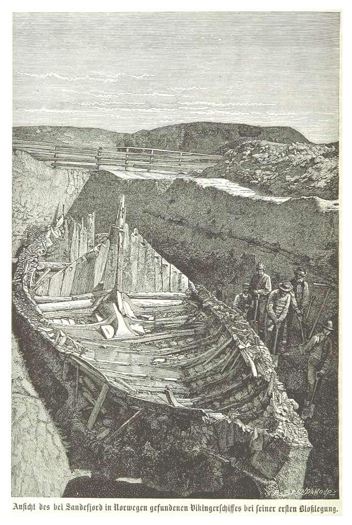 (Baumg1889) Freilegung des Wickingerschiffs im norwegischen Sandefjord