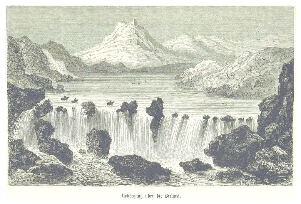(Baumg1889) Übergang über den Brúarár (Brúarárfoss)