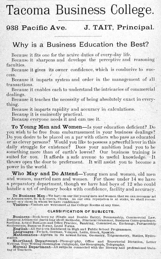 Tacoma Business College (1889) (ADVERT 251)