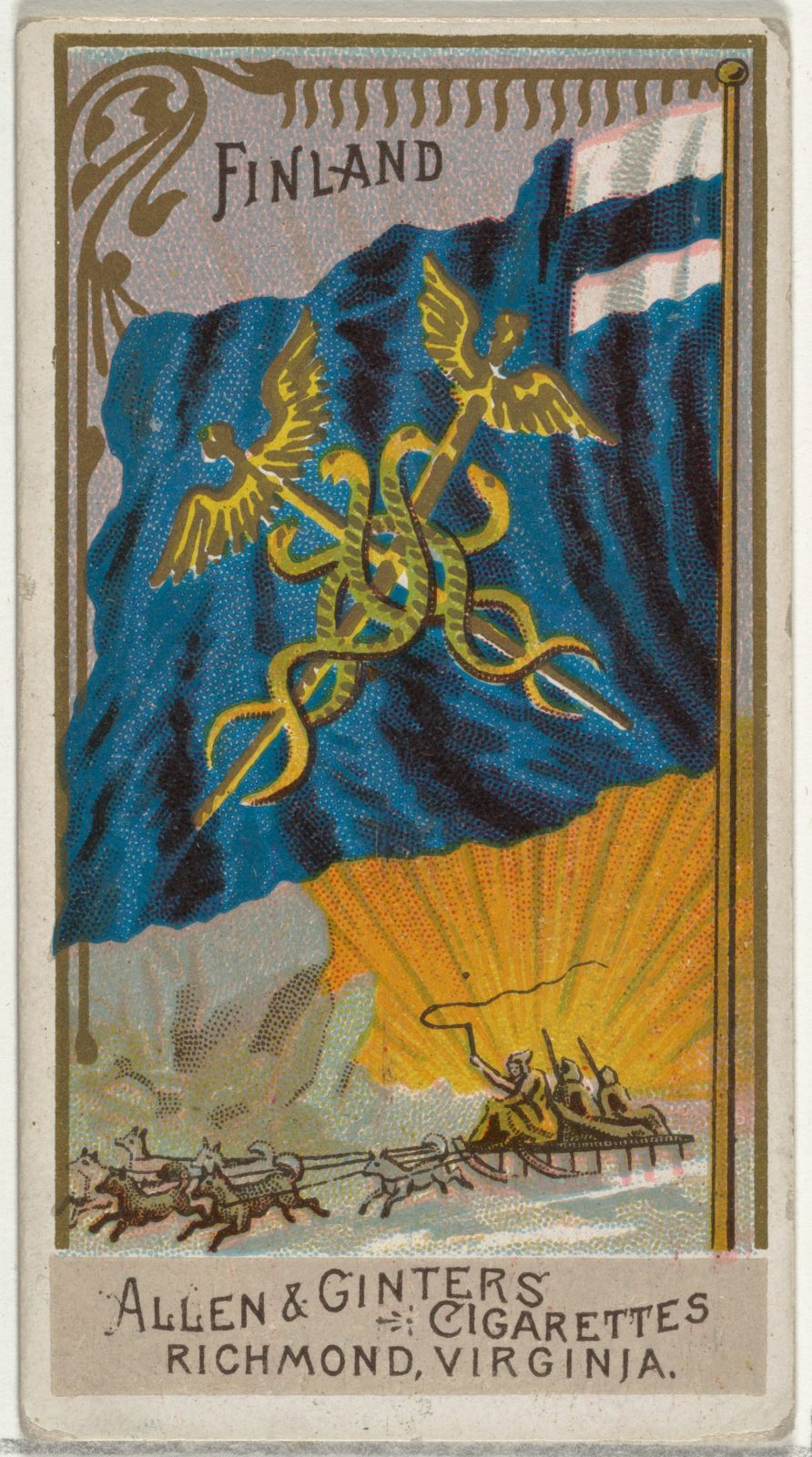 Finland, from Flags of All Nations, Series 2 (N10) for Allen & Ginter Cigarettes Brands