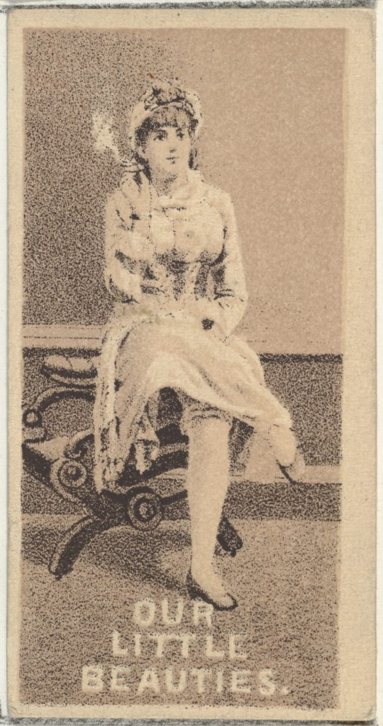 From the Actresses series (N57) promoting Our Little Beauties Cigarettes for Allen & Ginter brand tobacco products